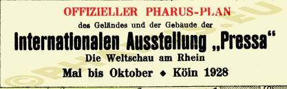 Pharus-Plan Köln 1928 Legende