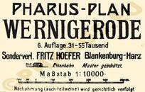 Pharus-Plan Wernigerode 1914 Legende