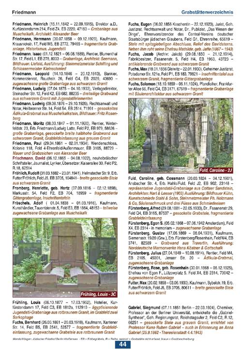 Mende/Vösgen, Der Jüdische Friedhof in Berlin-Weißensee, Beispiel Seite 44