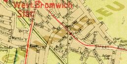 Pharus-Plan Birmingham 1920 Ausschnitt West Bromwich Station
