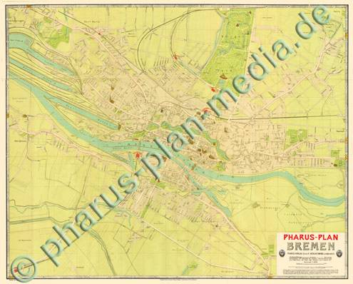 pharus pharus historischer stadtplan bremen 1909 gro e ausgabe. Black Bedroom Furniture Sets. Home Design Ideas