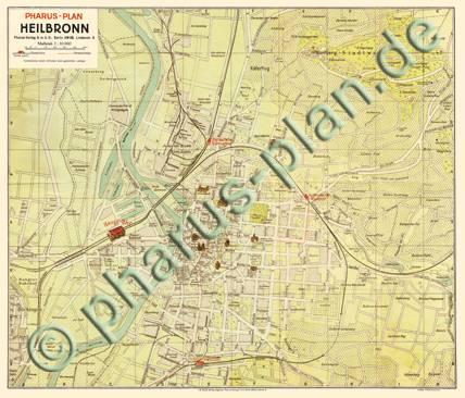 Heilbronn Karte Stadtplan.Pharus Pharus Historischer Stadtplan Heilbronn 1925