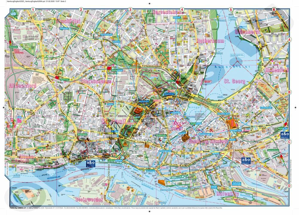 Hamburg Karte Sehenswurdigkeiten.Hamburg City Englisch