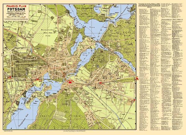 Historische Karte Potsdam.Pharus Pharus Historischer Stadtplan Potsdam 1930