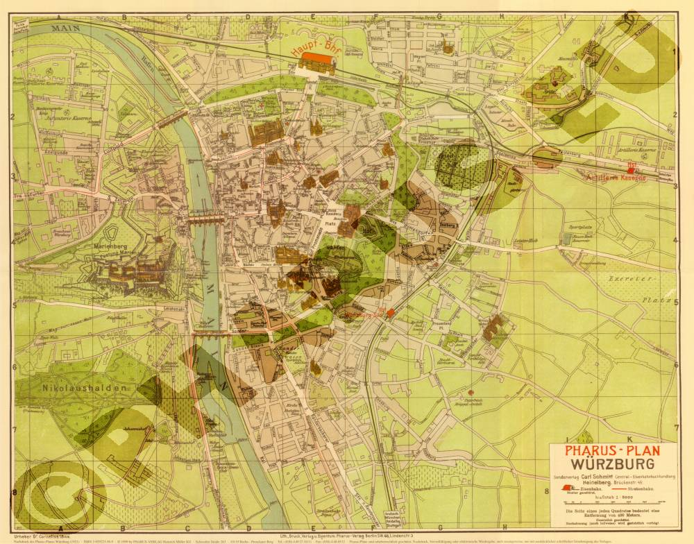 historischer pharus stadtplan w rzburg 1921 reprint kaufen bei. Black Bedroom Furniture Sets. Home Design Ideas