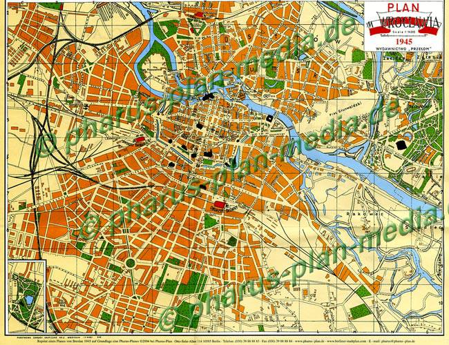 Breslau Karte 1930.Pharus Pharus Historischer Stadtplan Breslau Wroclaw 1945