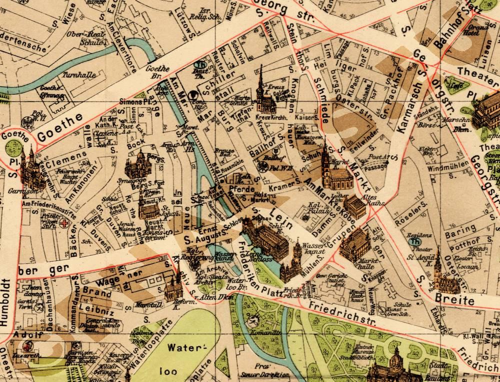 Alte historische Stadtkarte Gelsenkirchen Stadtplan Lithographie 1913