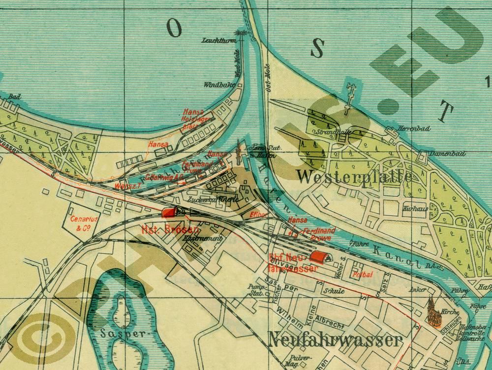 Pharus-Shop - Bild  1792b-Pharus-Historischer-Stadtplan-Danzig-1923-Ausschnitt-Westerplatte -und-Neufahrwasser.jpg