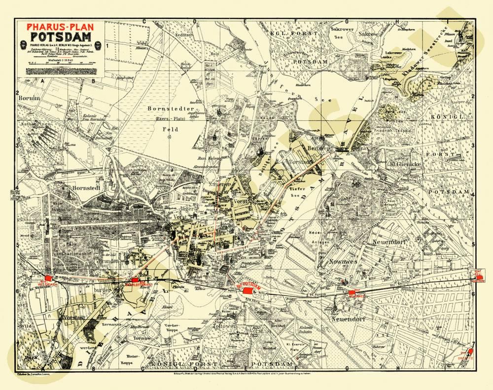 Historische Karte Potsdam.Pharus Pharus Historischer Stadtplan Potsdam 1905