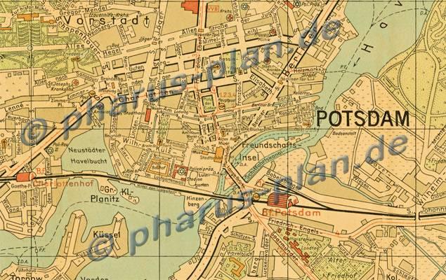 Historische Karte Potsdam.Pharus Pharus Historischer Stadtplan Potsdam 1949