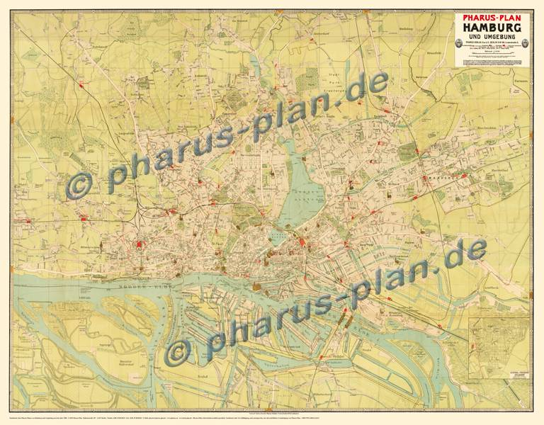 Hamburg 1908, and surroundings, Reprint, Full map
