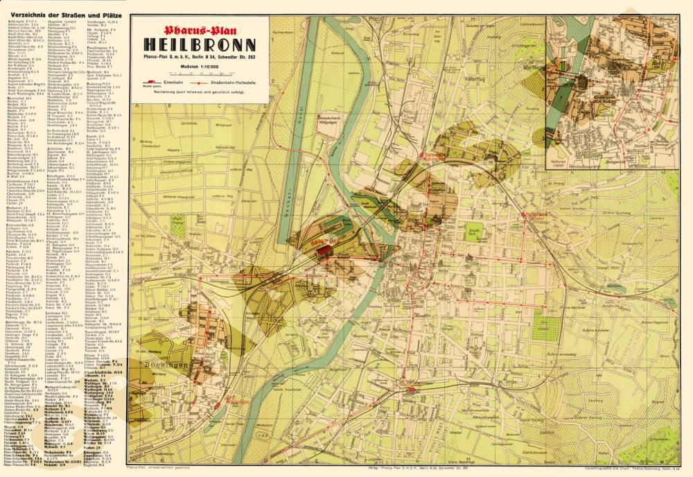 Heilbronn Karte Stadtplan.Pharus Pharus Historischer Stadtplan Heilbronn 1935