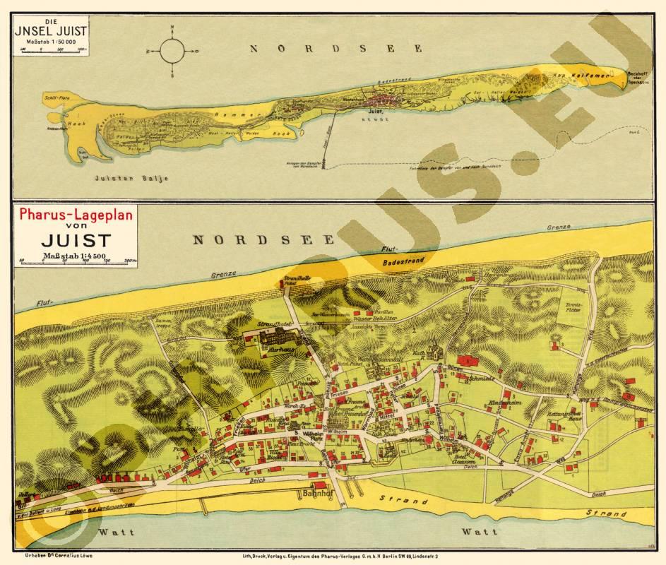Juist Karte.Pharus Pharus Historischer Stadtplan Juist 1925