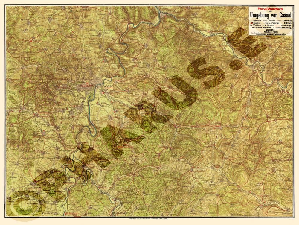 Karte Kassel Und Umgebung.Pharus Pharus Historischer Stadtplan Kassel 1925