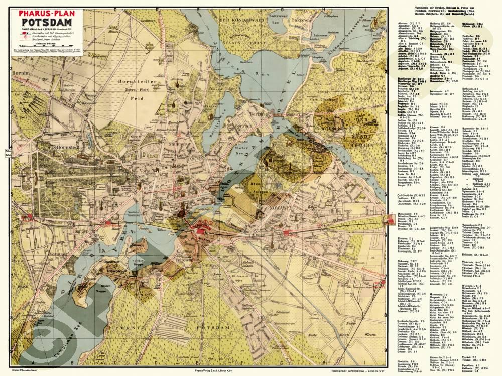 Historische Karte Potsdam.Pharus Pharus Historischer Stadtplan Potsdam 1932