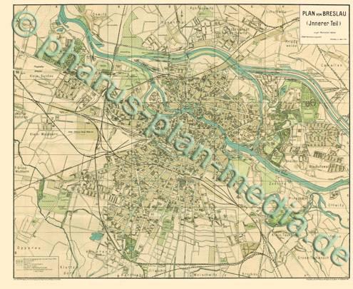 Breslau Karte 1930.Pharus Pharus Historischer Stadtplan Breslau 1930